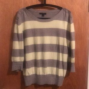 Banana Republic Mint and Grey Striped Sweater